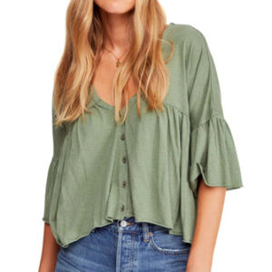 NWT Free People Sweet Little Tee- Moss- Small